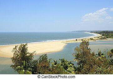 paradis, strand, hos, aerial udsigt