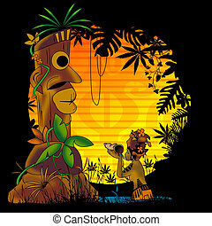 paradis, totem, tropical, prier, dieu, personnage, offrande,...