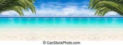paradise beach background - wide paradise beach panorama...