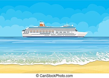 Paradise beach of the sea with cruise ship