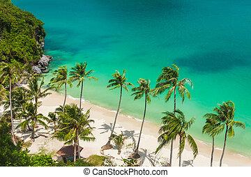 Paradise beach on tropical island. Ang Thong National Marine Park. Top view