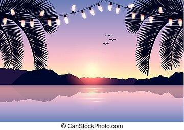 paradise beach summer holiday postcard design