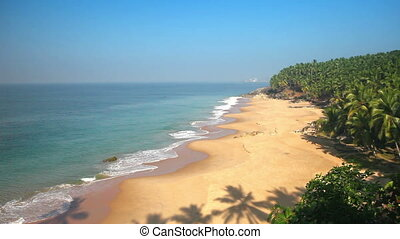 Paradise beach with palm trees, aerial view. Kerala, India....