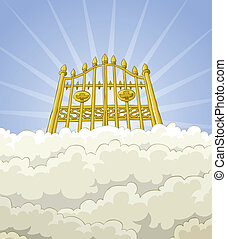 Paradise gate - The gates of paradise in the clouds, vector
