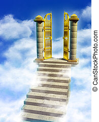 Paradise gates - Marble stairs and golden gates lead you to...