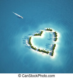 yacht heading to heart shaped island seen from the air concept for romantic vacation or valentines