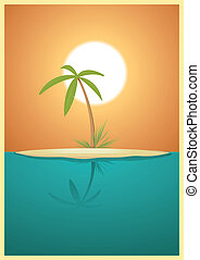 Paradise Island - Illustration of a designed heavenly simple...