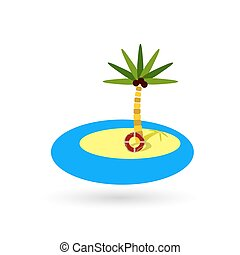 Paradise island flat color icon