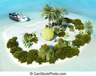 Paradise Island for two, boat parked at an island with...