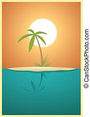 Paradise Island - Illustration of a designed heavenly simple...