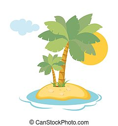 Paradise Island in the sea with palm trees and sunshine in a flat style isolated on white background. Vector, illustration EPS10.