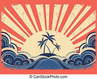 Paradise island on grunge paper background with sunrise
