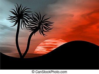 paradise island - palm trees against a dark tropical sky ...