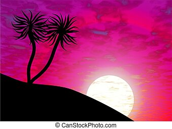 paradise island - palm trees against a pink sunset sky...