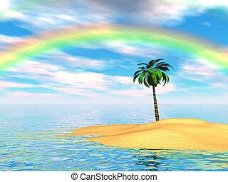 Paradise island with palm tree and rainbow