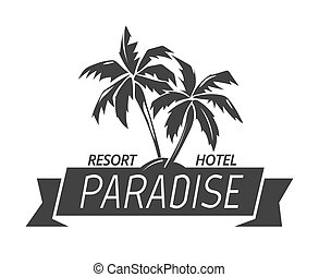 Paradise island resort hotel logo