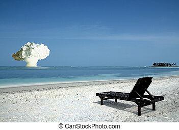 Paradise Lost - Burnt up Sunbed on Tropical Island Beach,...