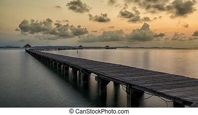 paradise., megüresedések, és, idegenforgalom, concept., tropikus, resort., móló