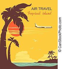 paradise., motorflugzeug, vektor, tropische