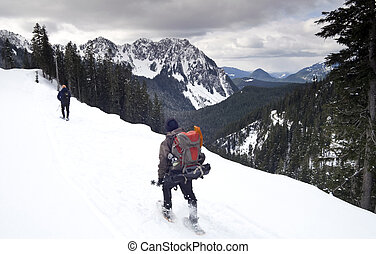 Paradise Ridge - Hikers on the Road to Paradise on Mt. ...