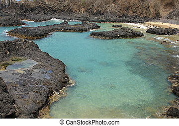 """The """"Pigs Bay"""" in Fernando de Noronha, a paradisiac island off the coast of Brazil."""
