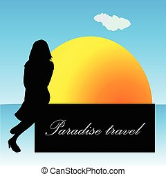 paradise travel with girl vector