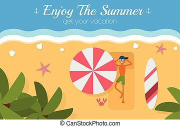 Paradise tropical island aerial view postcard