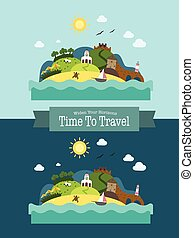 Paradise Tropical Island Landscape Vacation Postcard