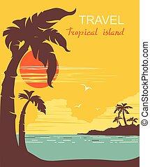 paradise., tropikalny, dłonie, wyspa, wektor, afisz