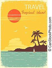 paradise., tropikalny, słońce, lato, wyspa, wektor, afisz