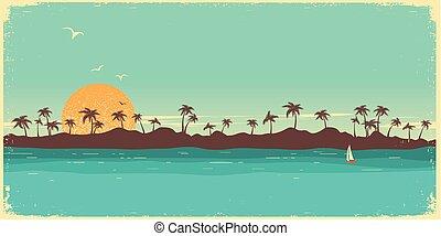paradise., tropische , hintergrund, handflächen, insel, plakat, weinlese, silhouette