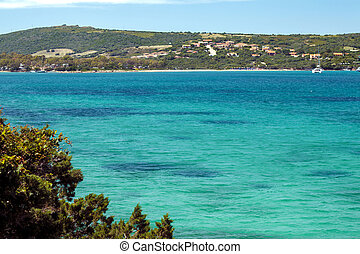 Paradisiac view above the sea with clear blue water in sardinia