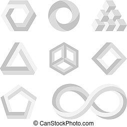 paradoja, imposible, formas, 3d, torcido, objetos, vector, matemáticas, símbolos