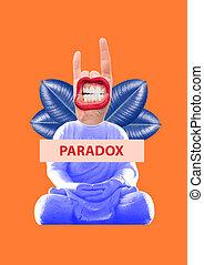 Paradox. Modern design. Contemporary art collage.