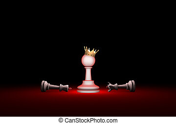 Paradox. Strength and weakness (chess metaphor). 3D render...
