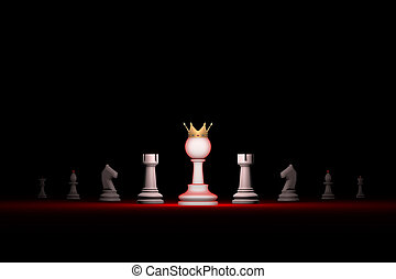 Paradox. Strong leader. Prompt career (big success) .Vertical of authority (chess metaphor). 3D render illustration. Free space for text.