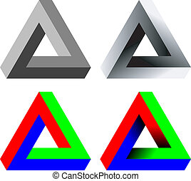 Paradox triangle - Abstract 3D triangle with optical...