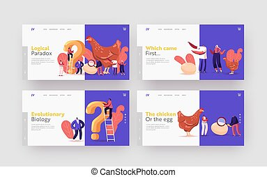 Paradox Which Came First Chicken or Egg Landing Page Template Set. Chicken-and-egg Metaphoric Adjective. Tiny Male and Female Characters at Huge Hen with Question. Cartoon People Vector Illustration