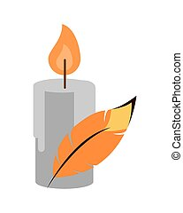 paraffin candle fire isolated icon vector illustration ...
