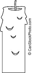 Paraffin candle icon, outline style - Paraffin candle icon....