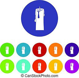 Paraffin candle icons set flat vector - Paraffin candle...