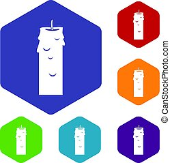 Paraffin candle icons set hexagon isolated vector...