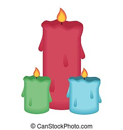 paraffin candles fire isolated icons vector illustration ...