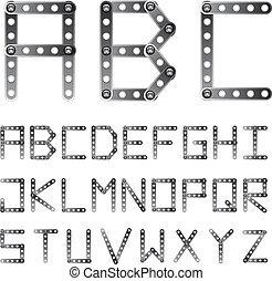 parafusado, alfabeto, vetorial, metal, fonte