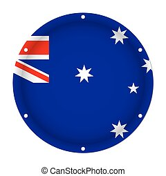 parafuso, austrália, buracos, metálico, bandeira, redondo