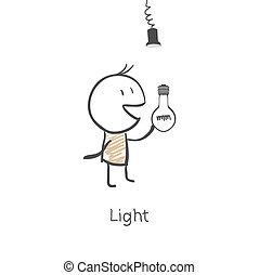 parafuso, homem, bulbo, luz