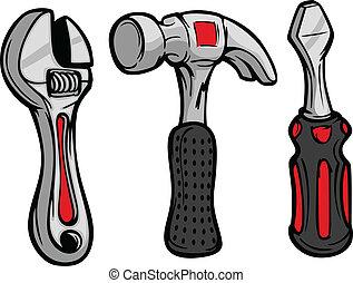 parafuso, martelo, motorista, caricatura, chave
