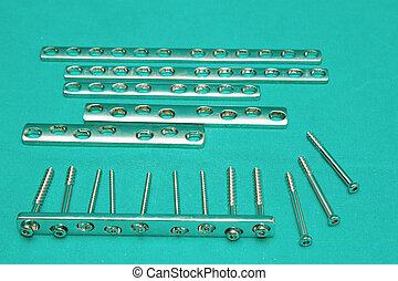parafuso, ortopédico, tabela, pratos, implante, estéril