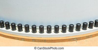 parafuso, parafusos, -, boné, nozes, dois, plástico, conjunto, flanges