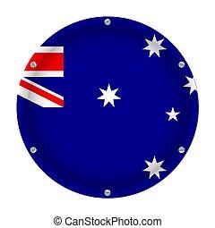 parafusos, bandeira, austrália, redondo, metálico